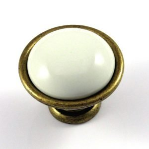 ivory ceramic and brass finish kitchen knob