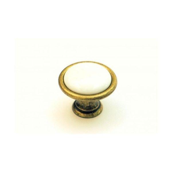 white ceramic and brass finish kitchen knob