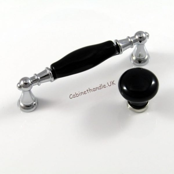 black porcelain and polished chrom handle and knob