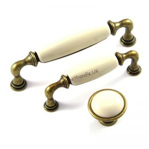 brass and ceramic kitchen handles