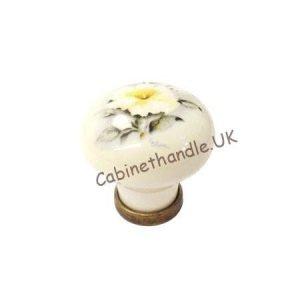floral motif ceramic knob