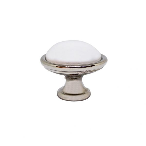 white ceramic and chrome kitchen knob