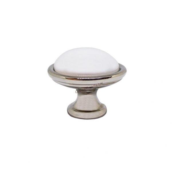 white ceramic and chrome kitchen knob