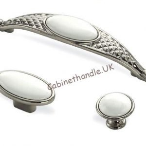 white ceramic polished chrome cabinet handles