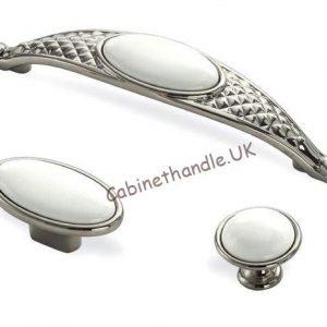 white ceramic polished chrome cabinet handles