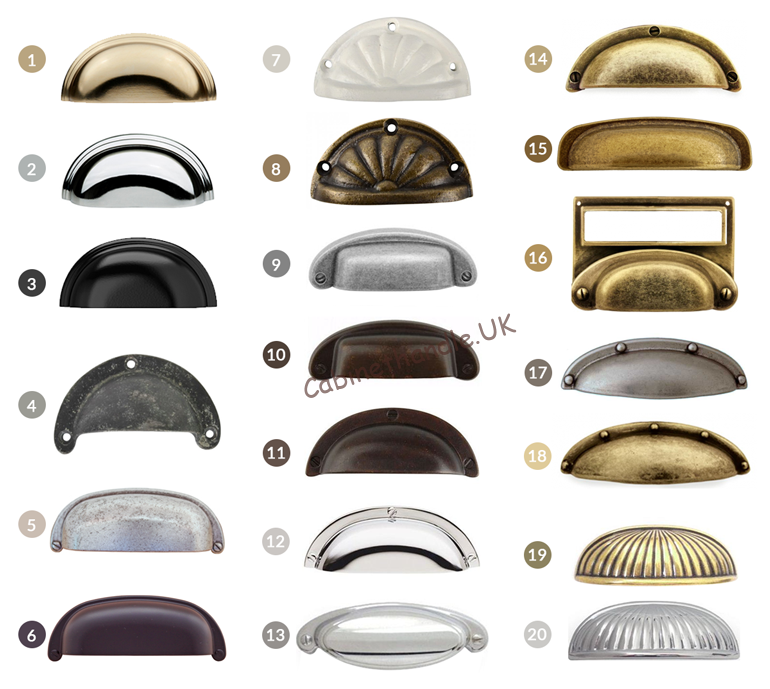 the overview of different styles colours and sizes of shell handles