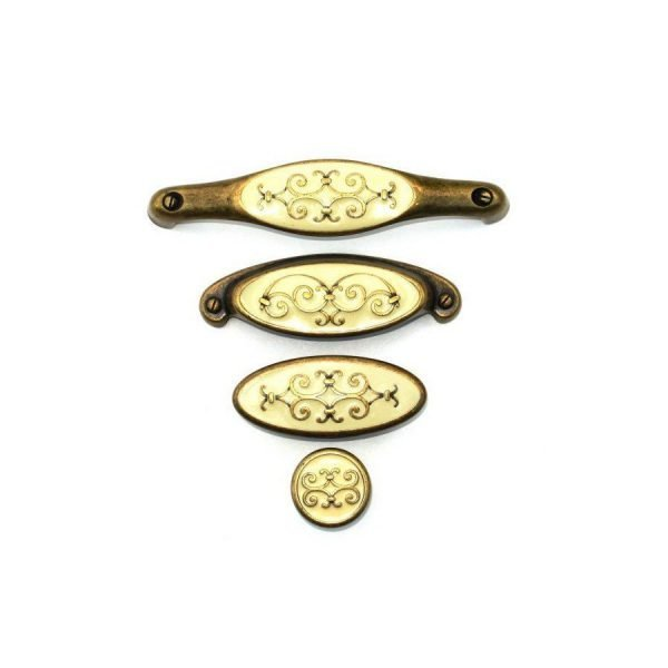 a set of antique brass kitchen cupboard handles