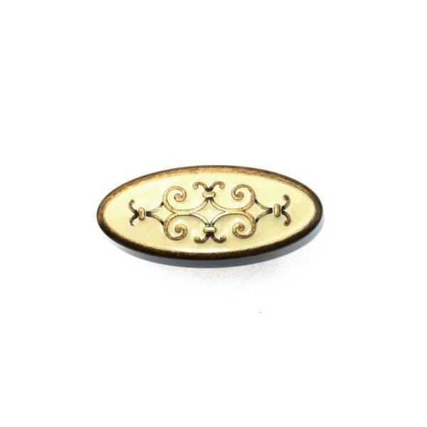old brass kitchen drawer knob with cream enamel