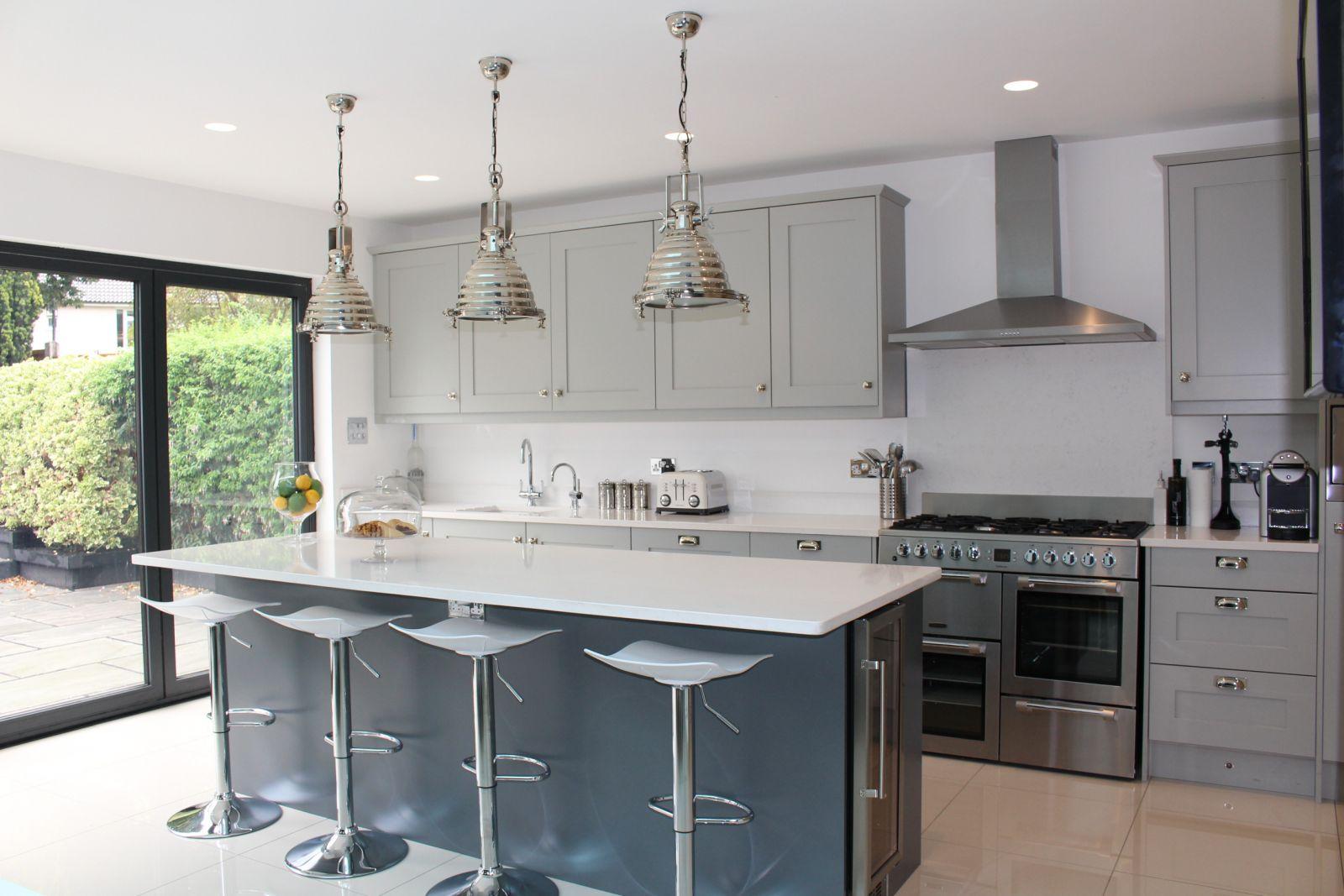 kitchen with chrome kitchen handles