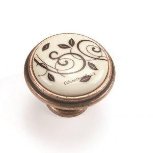 vintage ceramic knob old copper finish