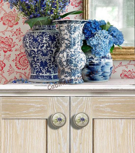 floral ceramic kitchen knobs