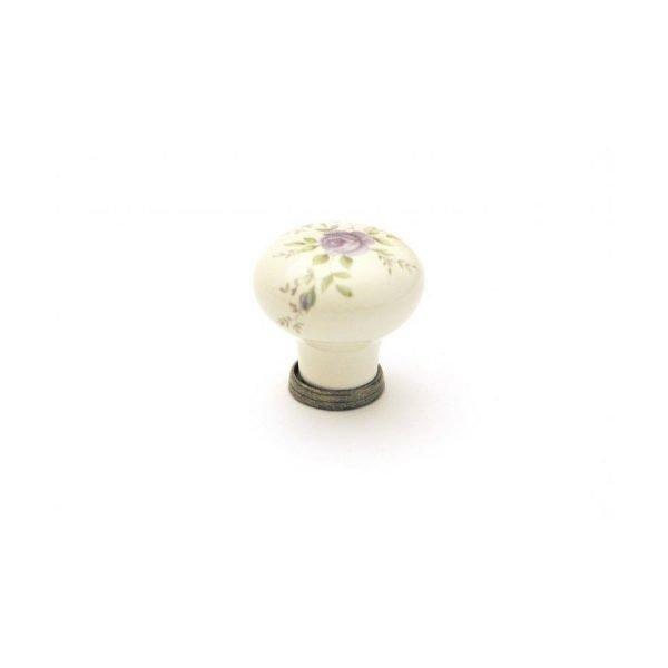 cream ceramic mashroom knob with floral motif