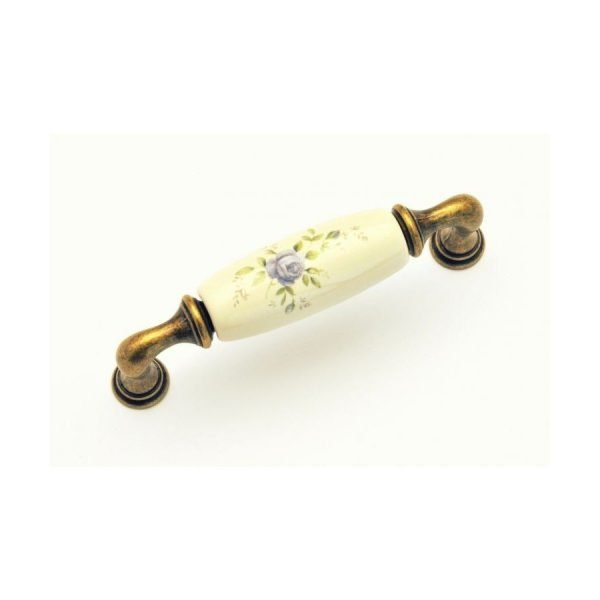 96 mm cream ceramic kitchen handle with floral motif on brass finish