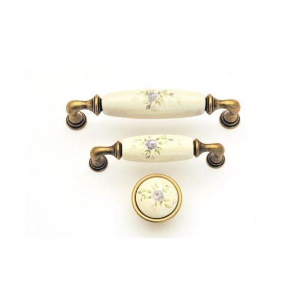 brass ceramic kitchen handles with floral motif