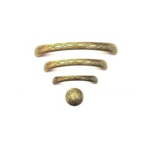set of brass kitchen handles