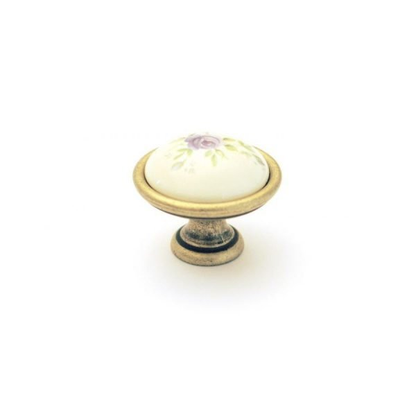 cream ceramic knob with floral motif