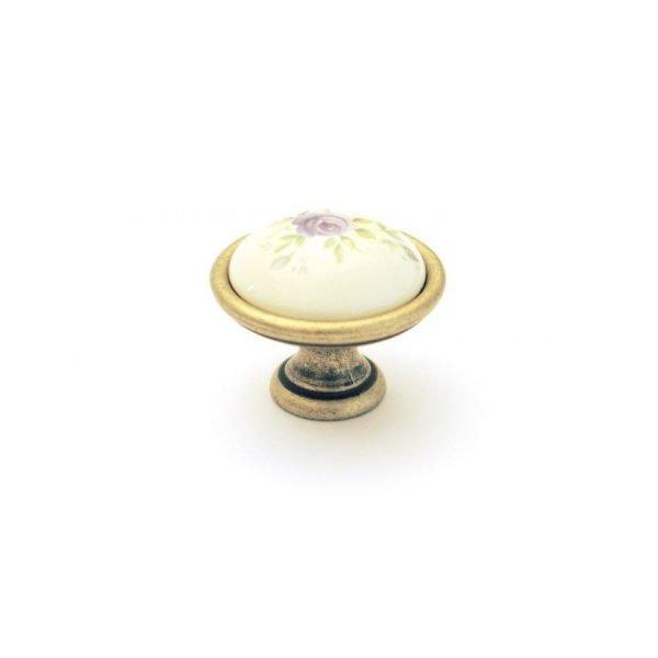 cream ceramic knob with floral motif