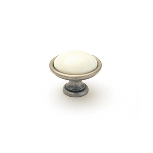 cream ceramic drawer knob on old steel finish
