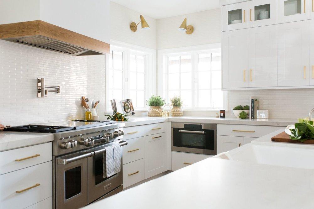 gold drawer handles in white kitchen