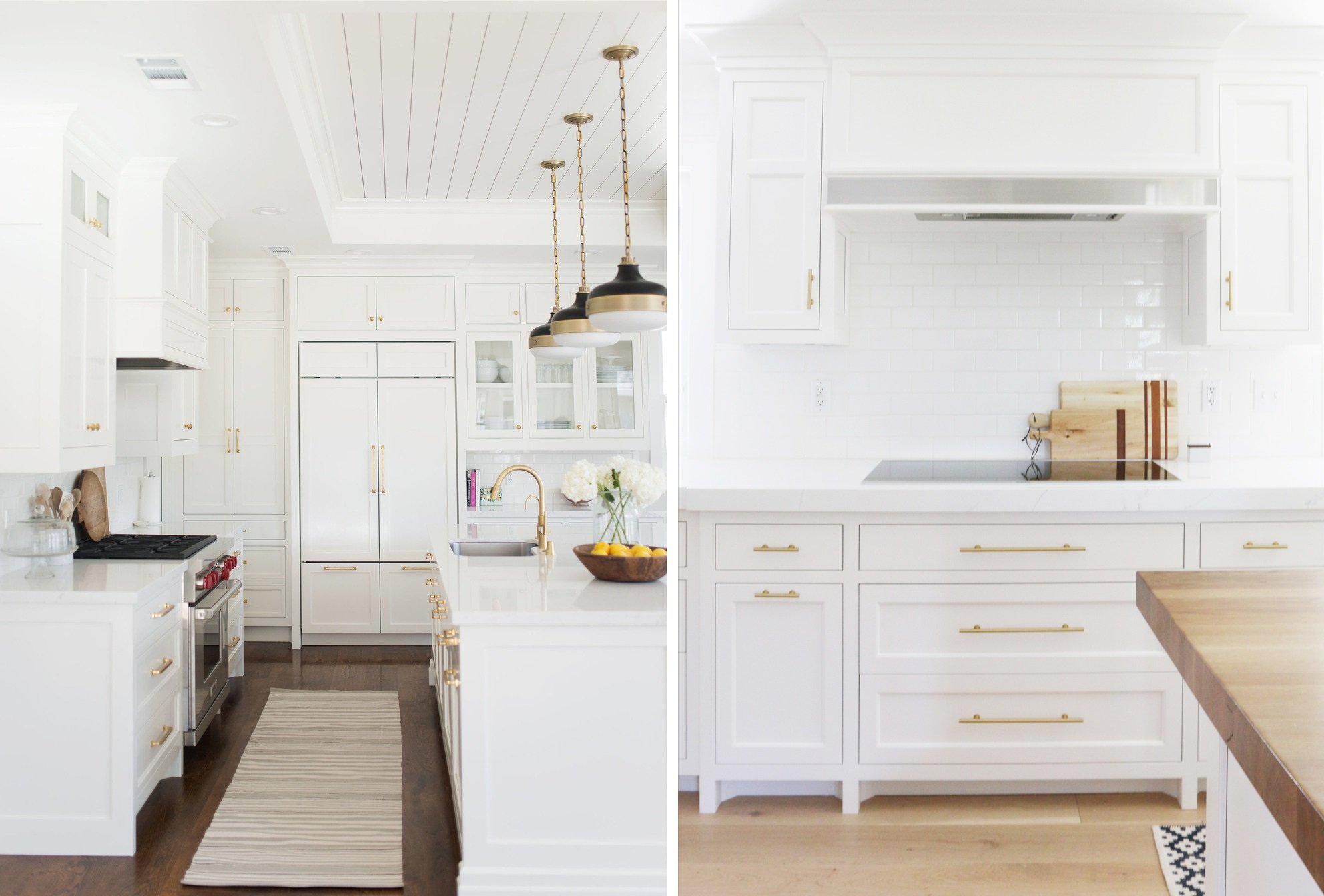 gold kitchen handles in white kitchens