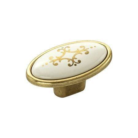 kitchen cabinet handle gold with ivory ceramic and gold pattern