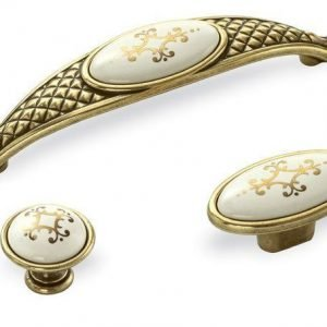 kitchen handles gold with ivory ceramic