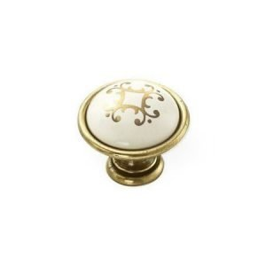 kitchen gold knob with cream ceramic