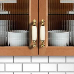 white ceramic kitchen cupboard handles