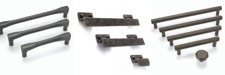 black modern kitchen handles in industrial style
