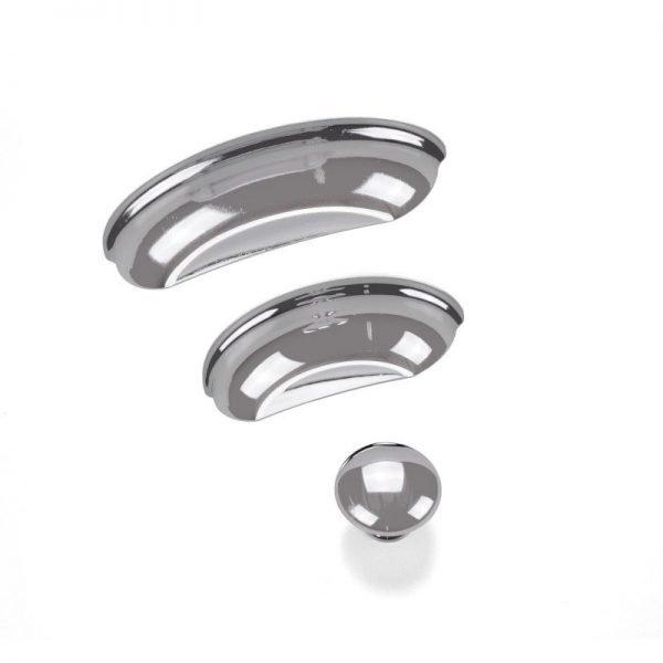 polished chrome cup handles