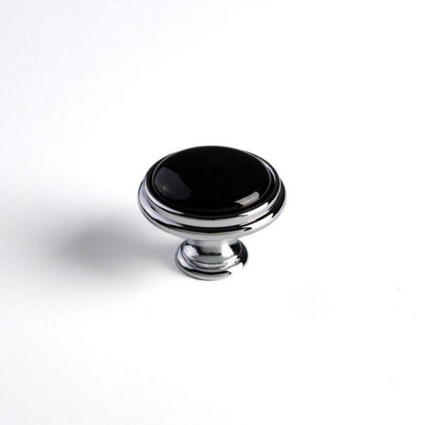 porcelain knob black color on chrome base
