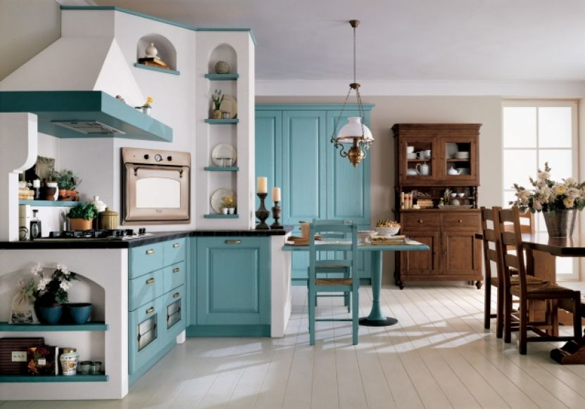retro kitchen with blue cabinets