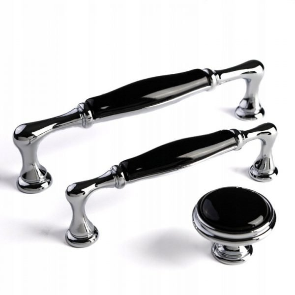 chrome and black ceramic kitchen handles