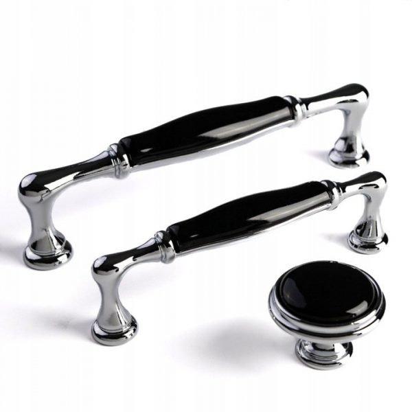 chrome and black ceramic kitchen handles