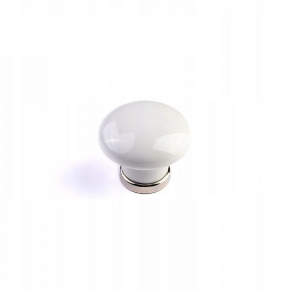 30 mm ceramic retro knob white