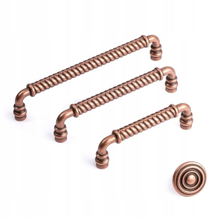copper handles and knobs in rustic style