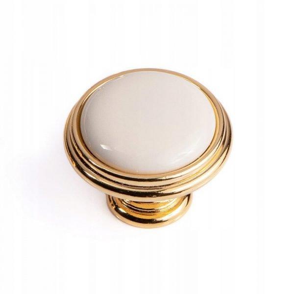 gold white ceramic kitchen cupboard knob 35 mm